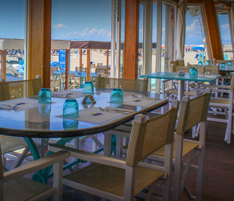 ristorante bagno florida beach viareggio servizio in spiaggia pranzo cena a base di pesce sul mare versilia